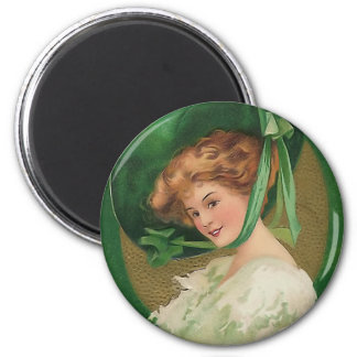 Vintage Lady in Green Round Magnet