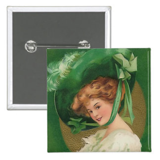 Vintage Lady in Green Square Button