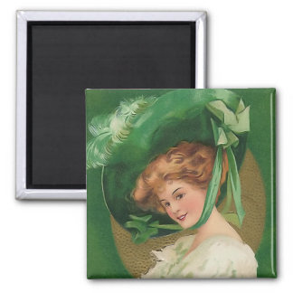 Vintage Lady in Green Square Magnet