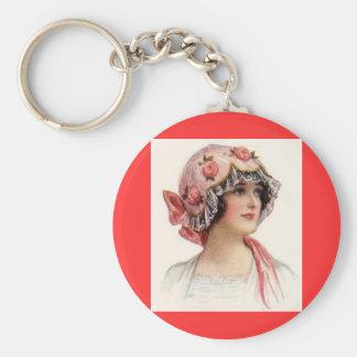 Vintage Lady in Silk Flowered Bonnet Basic Round Button Key Ring
