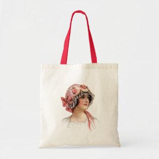 Vintage Lady in Silk Flowered Bonnet Tote Bag