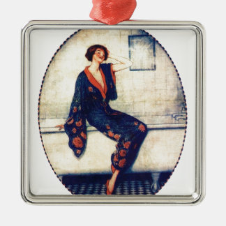 Vintage lady in the bathroom ornament