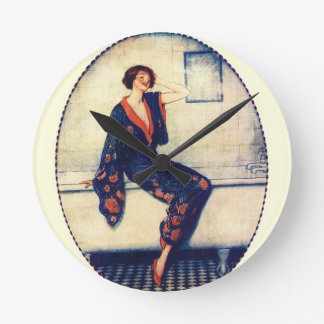 Vintage lady in the bathroom round clock