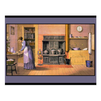 Vintage Lady in the Kitchen Postcard