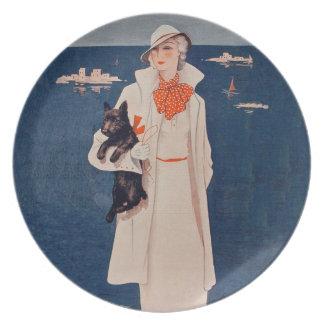 Vintage Lady In White Scotty Terrier Dog Ocean Dinner Plate