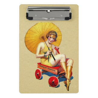 Vintage Lady in Yellow Bathing Suit Red Wagon