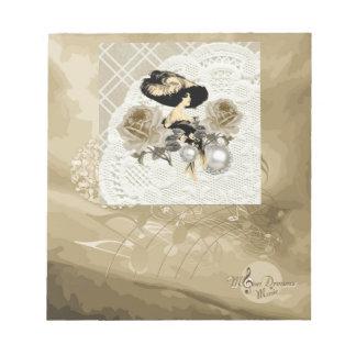 Vintage Lady Ivory Lace Roses &Rhinestones Notepad