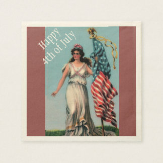 Vintage Lady Liberty 4th of July Patriotic Party Disposable Napkin