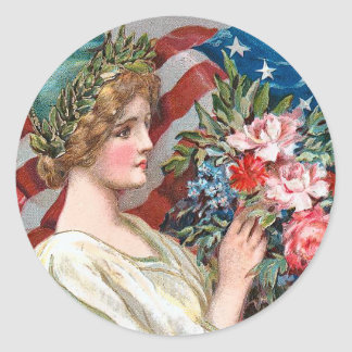 Vintage Lady Liberty_Sticker Classic Round Sticker