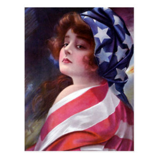 Vintage Lady Liberty Wrapped in American Flag Postcard