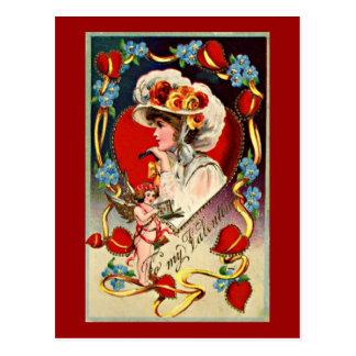 Vintage Lady My Valentine Postcard