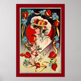 Vintage Lady My Valentine Value Poster Paper