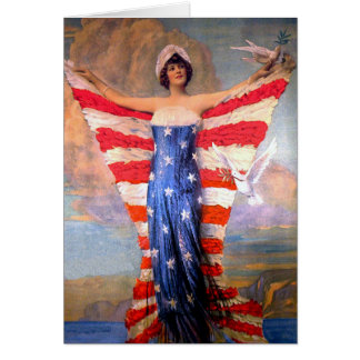 Vintage Lady of Liberty Patriotic American Flag Cards