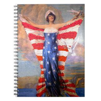 Vintage Lady of Liberty Patriotic American Flag Notebooks