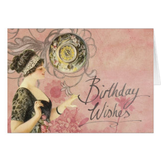 Vintage Lady on Pink Background Birthday Wishes Card