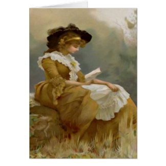 Vintage Lady Reading Card