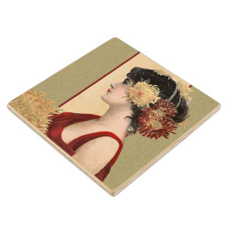 Vintage Lady Red Dress Big Pretty Flowers Wood Coaster