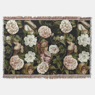 Vintage Lady Retro Botanical Flower Floral Pattern Throw Blanket