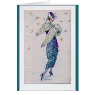 Vintage Lady Walks on a Windy Day, Card