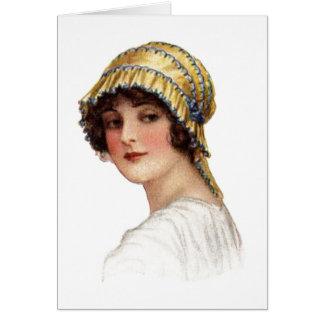 Vintage Lady wearing Bonnet Card Greeting Card