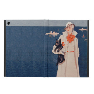 Vintage Lady White Suit Scotty Terrier Dog Ocean iPad Air Cover