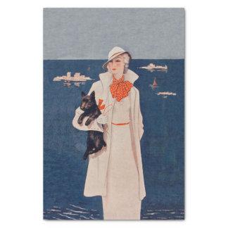 Vintage Lady White Suit Scotty Terrier Dog Ocean Tissue Paper