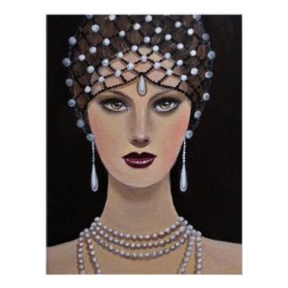 Vintage Lady With Amber Eyes Poster