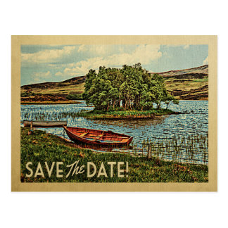 Vintage Lake Boat Save The Date Postcards Nature