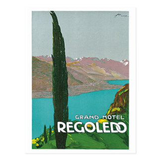 Vintage Lake Como Italian travel ad Postcard