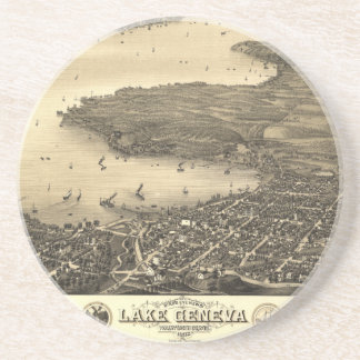 Vintage Lake Geneva Map Coaster