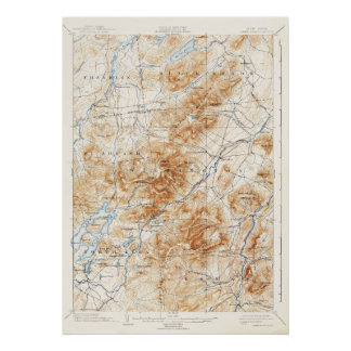 Vintage Lake Placid New York Topographical Map Poster