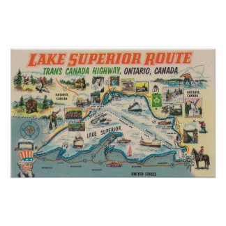 Vintage Lake Superior Ontario Canada Travel Poster