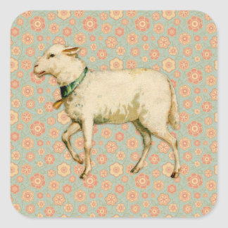 Vintage Lamb Art Square Sticker