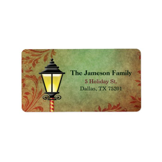 Vintage Lamp Post Holiday Address Address Label
