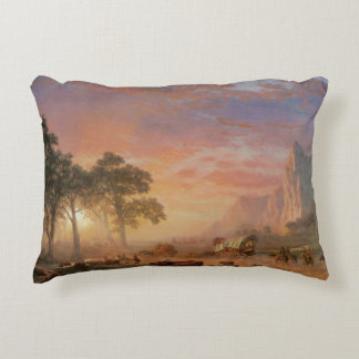 Vintage Landscape, Oregon Trail by Bierstadt Decorative Cushion