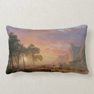 Vintage Landscape, Oregon Trail by Bierstadt Lumbar Pillow