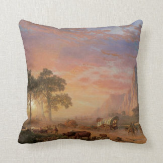 Vintage Landscape, Oregon Trail by Bierstadt Throw Pillow
