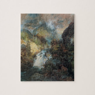 Vintage Landscape Waterfall in Mountains by Moran Jigsaw Puzzle