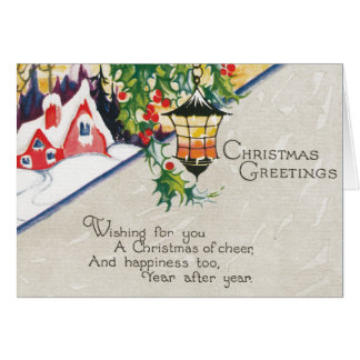 Vintage Lantern and Holly Christmas Greetings Card