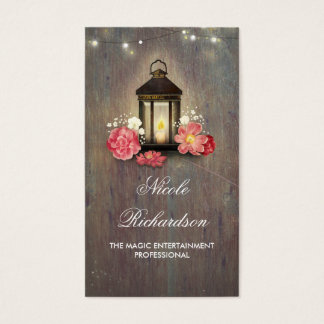 Vintage Lantern and Rustic Barn Wood Country Business Card