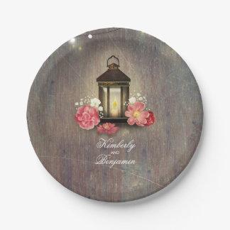 Vintage Lantern Rustic Wood Lights Wedding Paper Plate