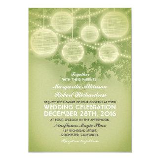 vintage lanterns wedding invitation