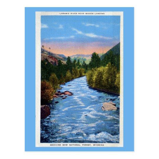 Vintage Laramie River near Woods landing WY Postcard