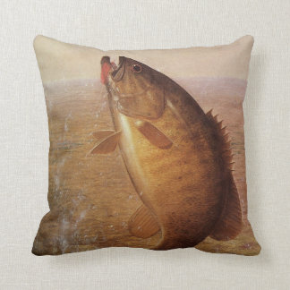 Vintage Largemouth Brown Bass Fish, Sports Fishing Cushion
