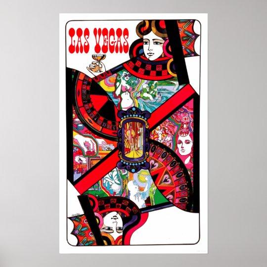Vintage Las Vegas Gambling Queen Travel Poster