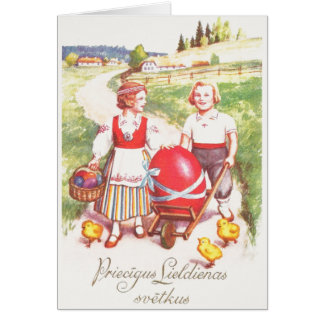 Vintage Latvian Easter Greeting Card