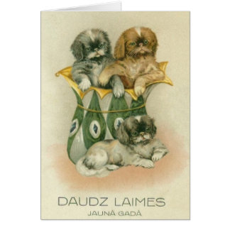 Vintage Latvian Puppies New Year Greeting Card