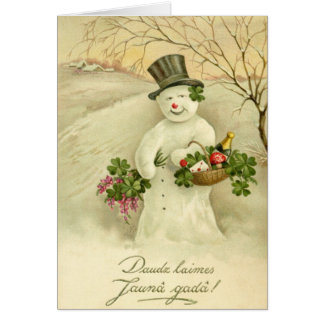 Vintage Latvian Snow Man New Year Greeting Card