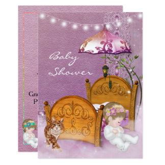 Vintage Lavender Baby Shower Invitation with crib