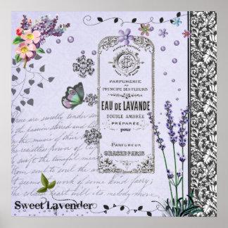 Vintage Lavender Collage poster